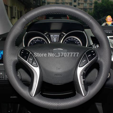 hyundai wheel cover black leather stitched car steering wheel cover for
