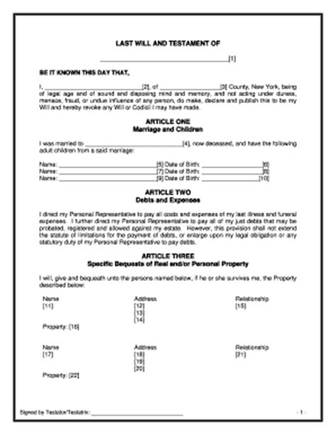 Will Template New York bill of sale form new york last will and testament form templates fillable printable sles