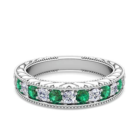 vintage and emerald wedding ring band in 18k gold