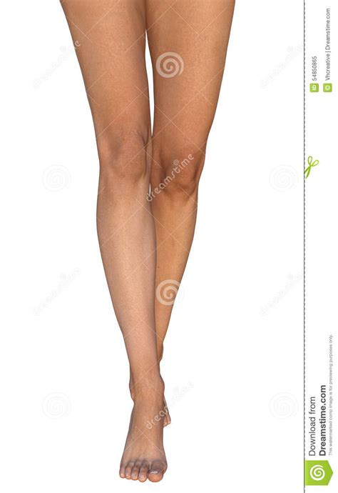 leg l from slim barefoot tanned legs standing on toes stock
