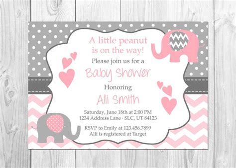 Paket Baby Shower 1 elephant baby shower invitation it s a elephant chevron pink peanut baby