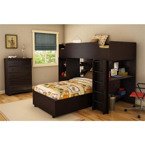 south shore loft bed south shore logik twin loft bed in chocolate 4 piece