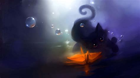 wallpaper anime cat drawn wallpaper cute anime cat pencil and in color drawn