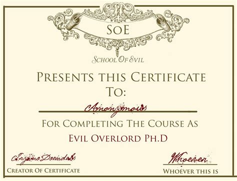 certificate design brushes photoshop evil overlord ph d certificate psd by idontknowwhoyouknow