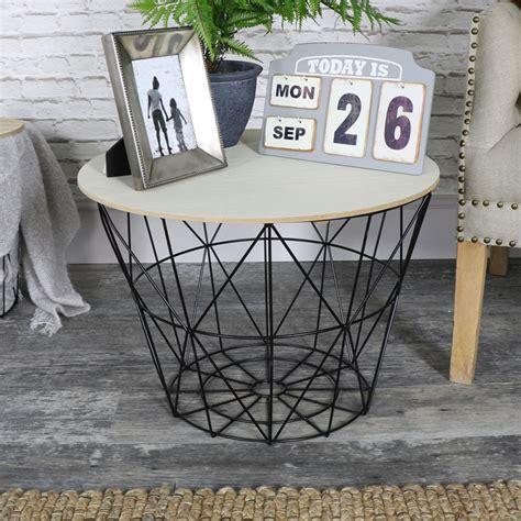 wire and wood basket side table black metal wire basket wooden top side table melody maison 174
