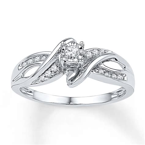 promise ring 1 8 ct tw cut sterling silver