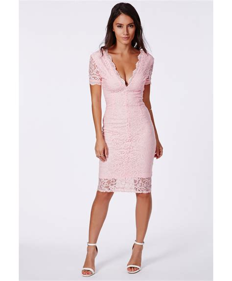 Midi Dress Flow Pink missguided emina pink plunge neck lace midi dress in pink lyst
