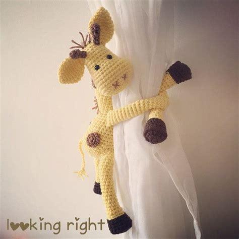 gardinenhalter affe hakeln anleitung giraffe curtain tie back crochet handmade tieback by