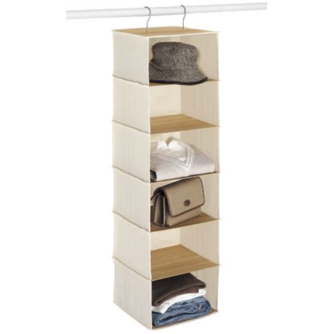 canvas and bamboo six shelf closet organizer in hanging