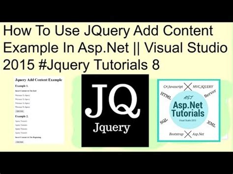 jquery tutorial in asp net c how to use jquery add content exle in asp net visual