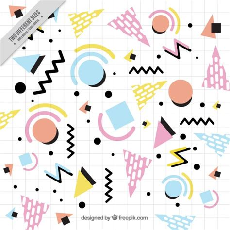 memphis pattern notebook notebook background with geometric shapes vector free