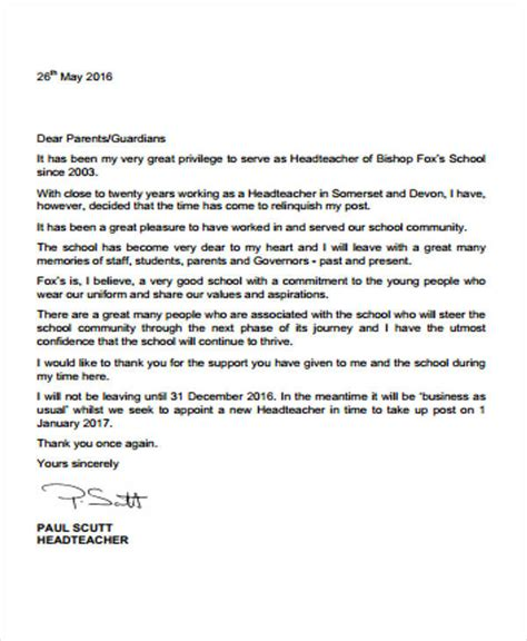 sample school resignation letter templates