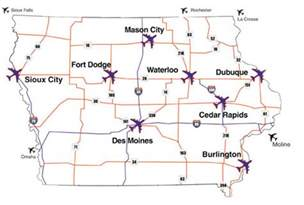 map us commercial airports aviation in iowa commercial air service