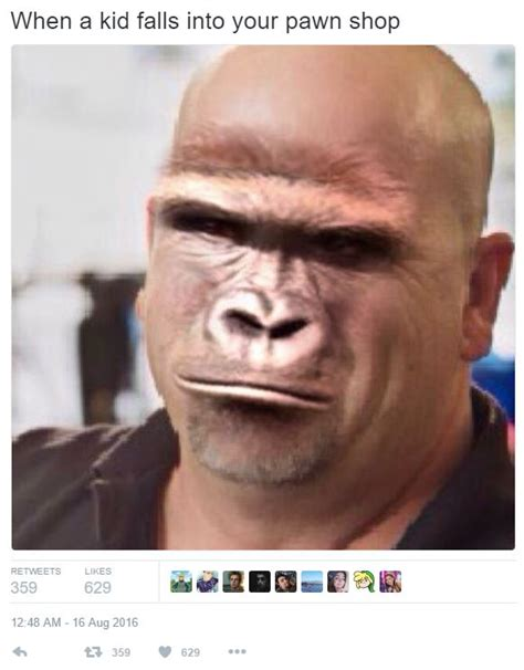 Rick Harrison Meme - when a kid falls into your pawn shop harambe photoshop by