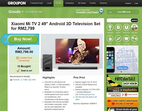 groupon malaysia new year deal groupon offers the xiaomi mi tv 2 for rm2799