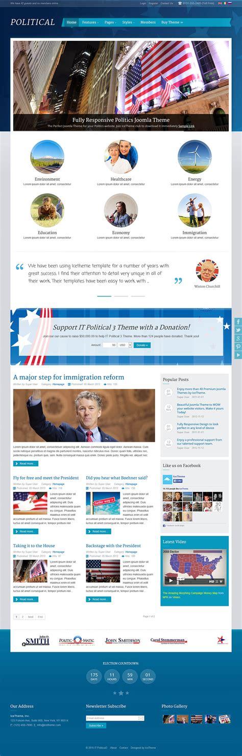 joomla theme ice icetheme political 3 v1 0 0 news template for joomla