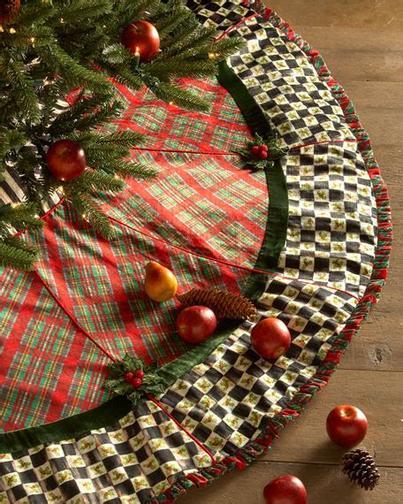 mackenzie childs holiday tartan christmas tree skirt