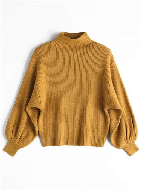 The Yellow Sweater lantern sleeve mock neck sweater yellow sweaters one size