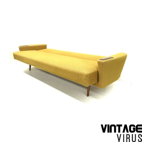 wooden armrest for sofa vintage yellow sofa couch with wooden armrests and legs