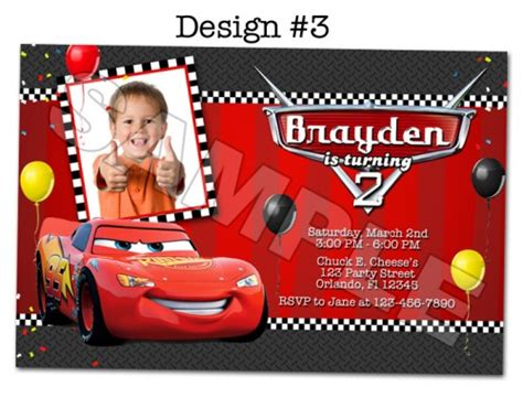 printable disney cars birthday invitations disney pixar cars photo birthday invitations printable funinvites digital on artfire