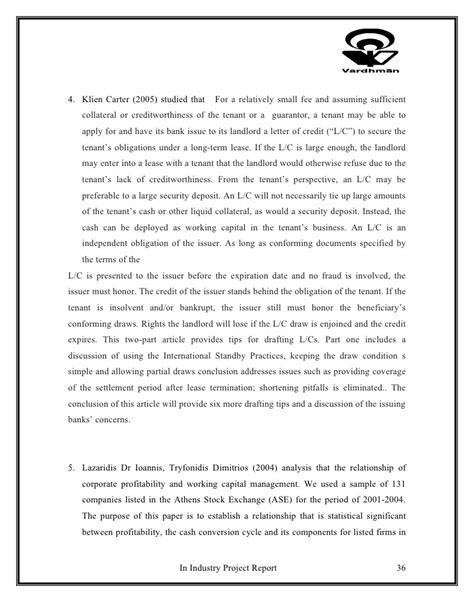 Project Report Letter Of Credit project on letter of credit and working capital