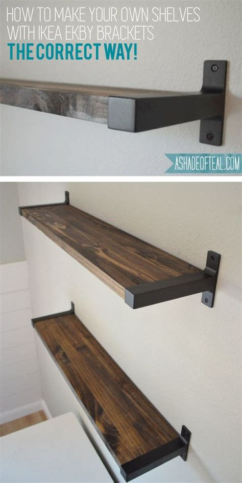 Under Cabinet Stereo Rustic Diy Bookshelf With Ikea Ekby Brackets Cuisines