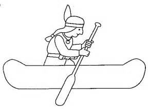 Native American Canoe Coloring Page sketch template