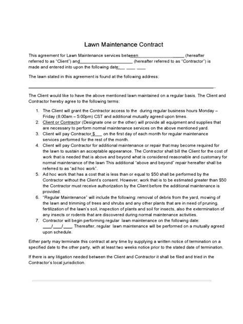 lawn care maintenance invoice proposal work order form projects to