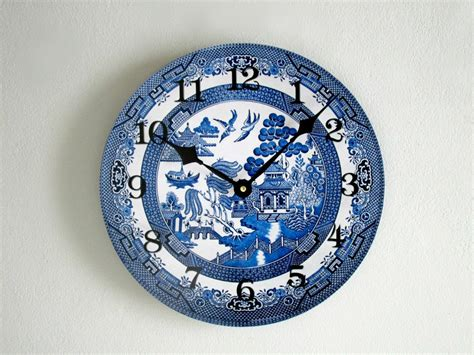 willow pattern wall clock blue willow wall clock unique vintage style wall clock
