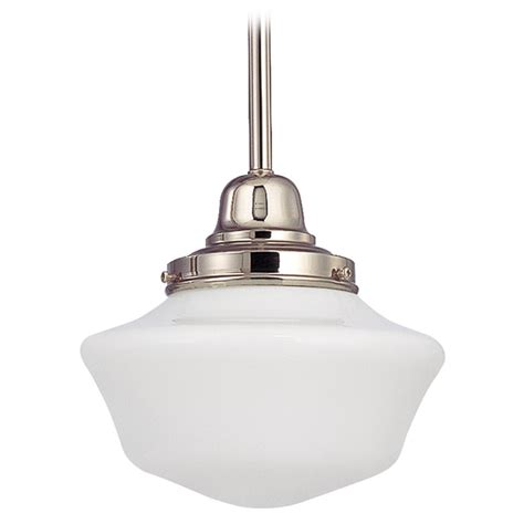 8 Inch Schoolhouse Mini Pendant Light In Polished Nickel Polished Nickel Pendant Lights