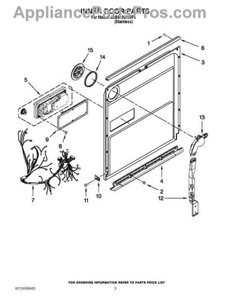 jenn air dishwasher parts diagram parts for jenn air jdb8700awp0 inner door parts