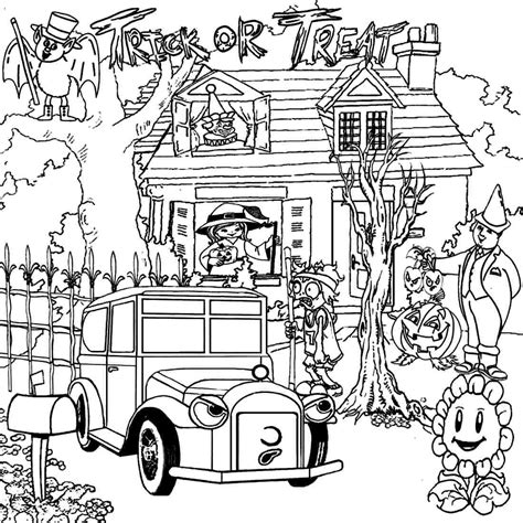 scary haunted house coloring pages download and print for