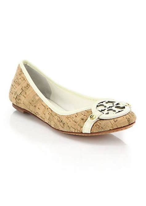 burch shoes on sale flats burch burch aaden leather trimmed logo cork