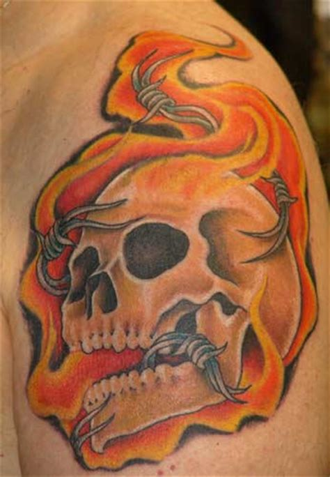 flaming skull tattoos skeleton