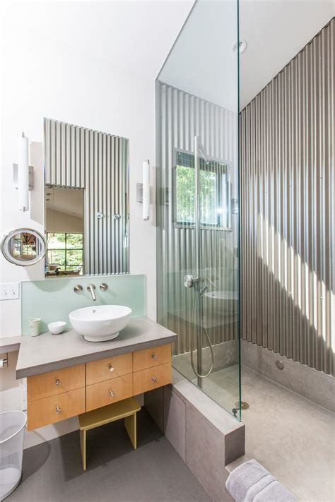 Corrugated metal barn bathroom contemporary with corrugated metal wall vessel sink glass shower