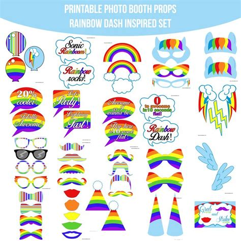 Rainbow Photo Booth Props Printable | instant download rainbow dash inspired printable photo