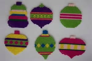 plastic canvas colorful christmas ornaments plastic canvas
