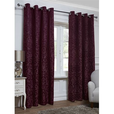 deep red curtains georgia textured leaf fully lined eyelet curtain 66 x 72 quot