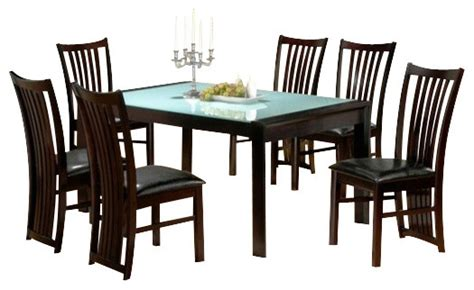wood and glass dining table sets 7 collection glass top and espresso finish
