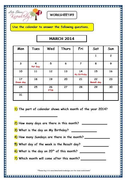 Calendar Questions Worksheets Grade 3 Maths Worksheets 9 1 Calendars Lets