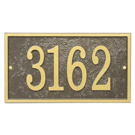 open house signs home depot whitehall products fast and easy rectangle house number plaque bronze gold 31266
