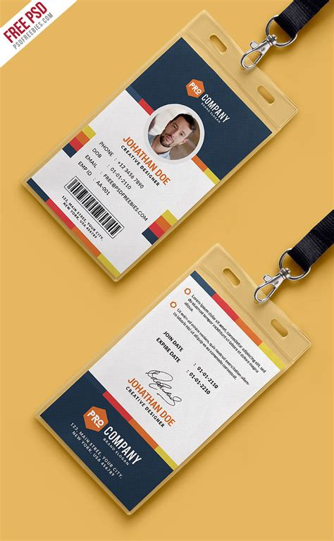 Officer Id Card Templates by Free Psd Creative Office Identity Card Template Psd On