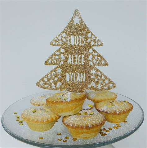 personalised christmas tree cake topper by miss cake