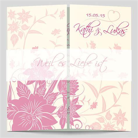 hochzeitseinladung floral altarfalz hochzeitseinladung florale elemente in pink