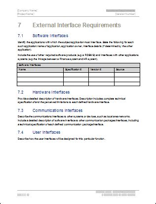 hardware documentation template software requirements specification ms word template