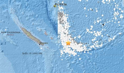 earthquake hits today map california  caledonia fiji