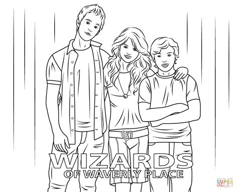 Wizards Of Waverly Place Coloring Pages Justin Max And Alex From Wizards Of Waverly Place Coloring