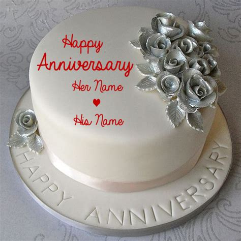 Wedding Anniversary Wishes On Cake With Names by Silver Wedding Anniversary Cake With Name