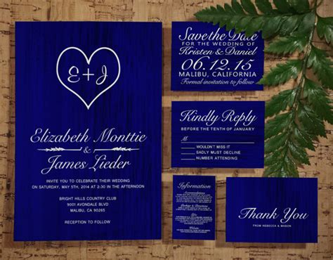 wedding invitations reply by date royal blue country wedding invitation set suite invites