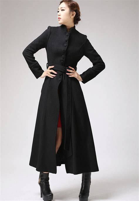 Dress Coat black coat dress coat mandarin collar coat womens